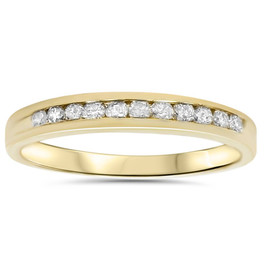 1/4ct 14K Yellow Gold Diamond Wedding Guard Stack Ring (G/H, I2)