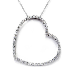 SI 2ct Large Diamond Heart Pendant 14K White Gold (G/H, SI)