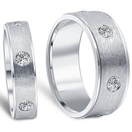 1 1/2ct Matching His Hers Diamond Wedding Band Ring Set (G/H, SI)