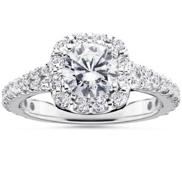 2 1/2Ct Cushion Halo Enhanced Diamond Engagement Ring 14K White Gold (H/I, I1-I2)