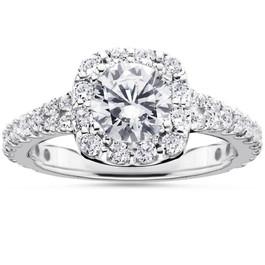 2 1/2Ct Cushion Halo Enhanced Diamond Engagement Ring 14K White Gold (H/I, I1-I2)