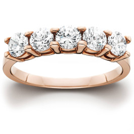 1 1/4 Ct 5 Stone Round Cut Diamond Wedding Anniversary Ring 14K Rose Gold (H/I, I1-I2)