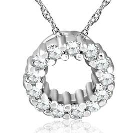 1/3ct Diamond Circle Pendant 14K White Gold 5mm (G/H, I1)