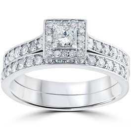 3/4 cttw Princess Cut Diamond Halo Engagement Wedding Ring Set 10K White Gold (H/I, I2-I3)