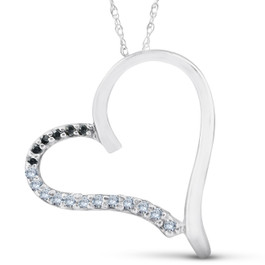 1/6ct Black Diamond White Gold Heart Pendant White Gold (G/H, I1-I2)