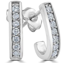 "G/SI 1/3ct Diamond Hoops 14K White Gold 1/2"" Tall (F, VS)"
