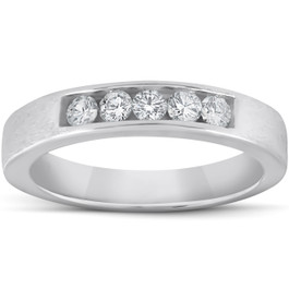 1/3ct Mens 14K White Gold Diamond Wedding Ring Band (G/H, I1)