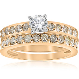 14k Yellow Gold 1 Carat Diamond Engagement Ring Matching Wedding Band Set (H/I, I1)