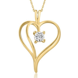 "1/3Ct Solitaire Round Diamond Heart Pendant & Chain 14K Yellow Gold 1"" Tall (G/H, I2)"