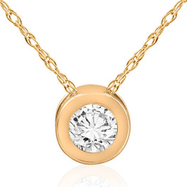 14k Yellow Gold 5/8ct Round Bezel Solitaire Diamond Pendant 14K Necklace (G/H, I1)