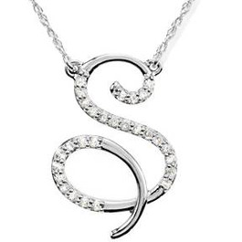 "1/8ct Diamond ""S"" Initial Pendant 18"" Necklace 14K White Gold (G/H, I2)"