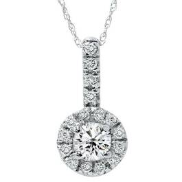 14K 1/2ct Pave Solitaire Fancy Diamond Pendant Necklace (G/H, I2)