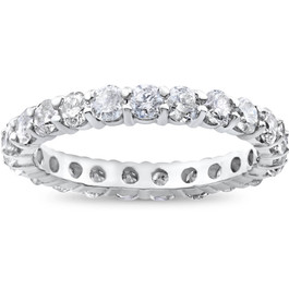 2ct Diamond Eternity Wedding Ring 14K White Gold (G/H, SI1-SI2)