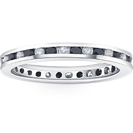 1ct Black & White Diamond Eternity Ring 14K White Gold Band (G/H, I2)