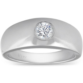 Mens 14k White Gold 1/2ct Solitaire Bezel Round Diamond Wedding Anniversary Ring (G, SI)