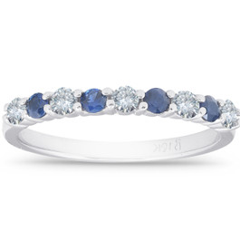 1/2CT Blue Sapphire & Diamond Wedding Ring 10K White Gold (H/I, I1-I2)