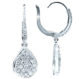 "VS 1 1/8ct Diamond Hoops Dangle Pear Shape Earrings 18K White Gold 1 1/4"" Tall (G/H, VS)"