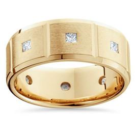 Mens 3/4ct Princess Cut Diamond Wedding Ring New Band (G/H, SI)