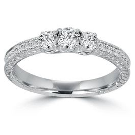 1ct Vintage Three Stone Round Diamond Engagement Ring 14K White Gold (H, I2-I3)