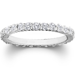 1ct Prong Diamond Eternity Ring 14K White Gold (G/H, SI2)