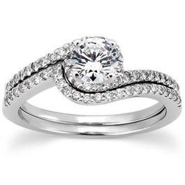 3/4 CT Diamond Engagement Ring Set 14K White Gold (G/H, I1-I2)
