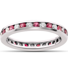 1 1/2ct Ruby & Diamond Eternity Ring 14K White Gold (G/H, I1)