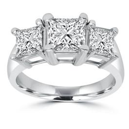 2ct Three Stone Princess Cut Diamond Ring 14K Gold (H/I, I1-I2)