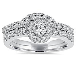 1ct Diamond Engagement Matching Wedding Ring Set 14K White Gold (G/H, I1-I2)
