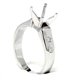 Diamond Semi Mount Cathedral Engagement Ring 14K Setting (G, SI)