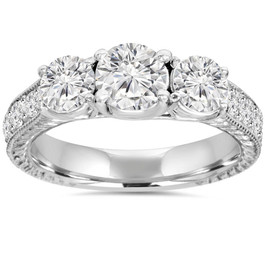 1 3/4ct Vintage Three Stone Round Diamond Engagement Ring 14K White Gold (H, SI2)