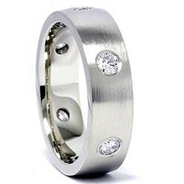 Mens 14K White Gold 3/4ct Diamond Wedding Ring Band New (G/H, I1)