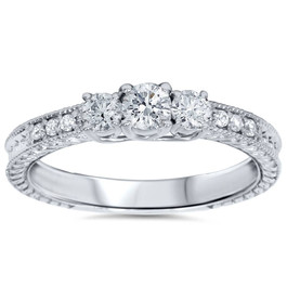 1/2ct Vintage Three Stone Round Diamond Engagement Ring 14K White Gold (H, I2-I3)