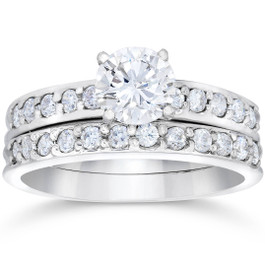 1 Carat Diamond Engagement Ring Matching Wedding Band Prong Set 14K White Gold (G/H, I1)