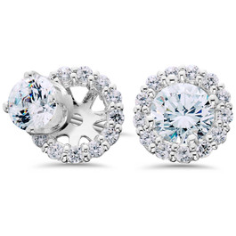 Women's 3/4ct Diamond Studs & Earring Halo Jackets Solid 14k White Gold (G-H, SI)
