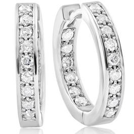 """.80 Ct Diamond Inside Outside Hoops 14K White Gold 5/8"""" Tall (G/H, I2)"""