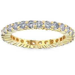 1 1/2ct Prong Diamond Eternity Ring 14K Yellow Gold (G/H, I2)