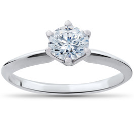 1/2ct Solitaire Diamond Engagement Ring 14K White Gold (I/J, I2-I3)