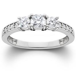 3/4ct Three Stone Round Diamond Engagement Ring 14K White Gold (H-I, SI1)