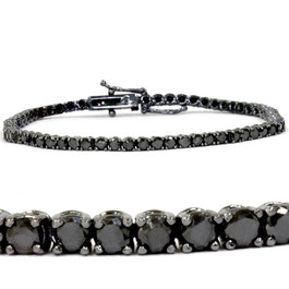 "3ct Black Diamond Tennis Bracelet 14K Black Gold 7"" (Black, )"