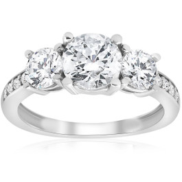 1 3/4ct Three Stone Round Diamond Engagement Ring 14K White Gold (H, I1)