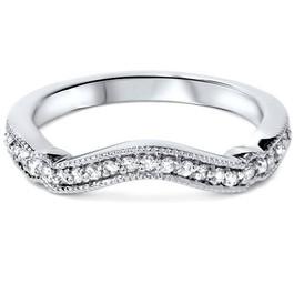 1/6ct Curved Diamond Wedding Ring 14k White Gold (G/H, SI1-SI2)
