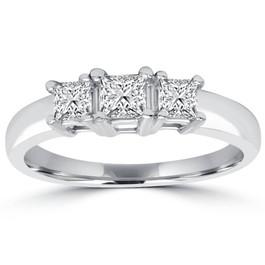 1ct Three Stone Princess Cut Diamond Engagement Ring 14K White Gold (H/I, SI2)