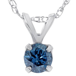 1/2ct Blue Diamond Solitaire Pendant 14K White Gold (Blue, I1)