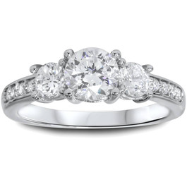 1 1/4ct Three Stone Round Diamond Engagement Ring 14K White Gold (H, I1)