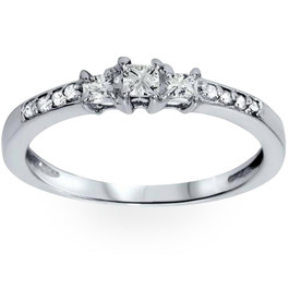 1/4ct Three Stone Princess Cut Diamond Engagement Ring 14K White Gold (H, SI2)