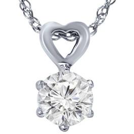 "1/2ct Solitaire Round Diamond Heart Pendant 14K White Gold & 18"" Chain ((G-H), SI(1)-SI(2))"