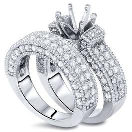2ct Pave Diamond Engagement Mount Wedding Ring Set 14k White Gold Round Settting (G/H, I1)