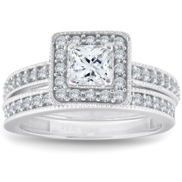 1ct Princess Cut Halo Diamond Engagement Wedding Ring Set 14K White Gold (G/H, I1-I2)