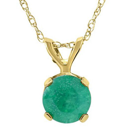 1ct Emerald Solitaire Pendant 14K Yellow Gold