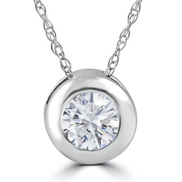 "1/4CT EX3 Lab Grown Diamond Solitaire Pendant 14k White Gold 18"" Necklace ((F-G), SI(1)-SI(2))"
